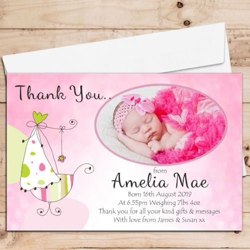 10 Personalised Baby Girl Birth Announcement Thank You PHOTO cards N85